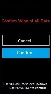 hard reset Confirm wipe of all data